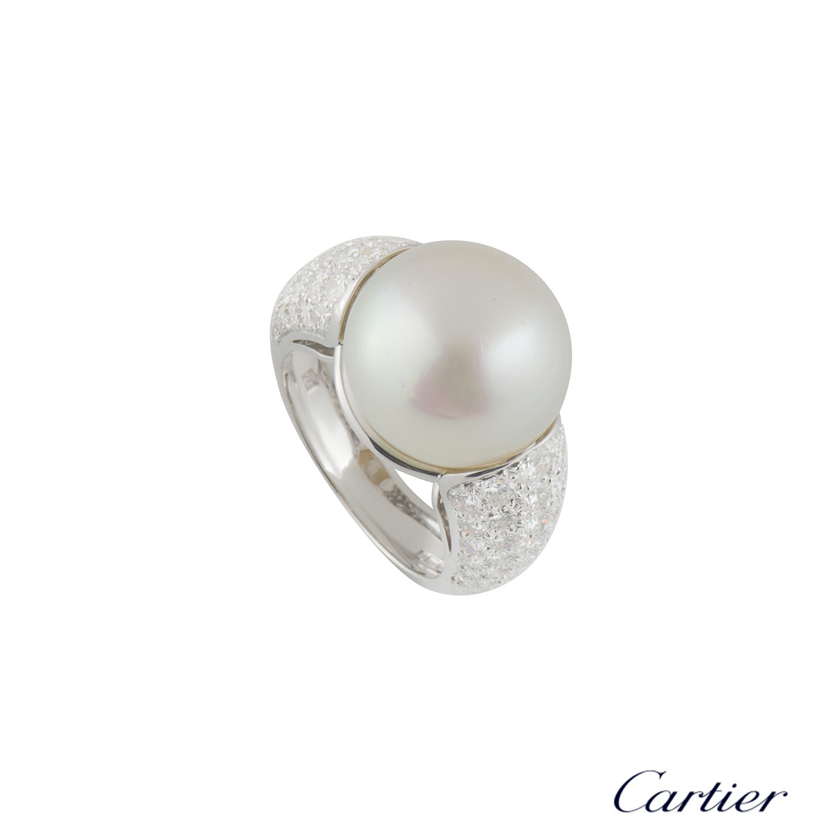Cartier White Gold Pearl and Diamond Ring